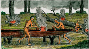 Two Wicocomico men creating a canoe.